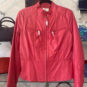 NEIMAN MARCUS Fuchsia Leather Racing/Motorcycle Jacket